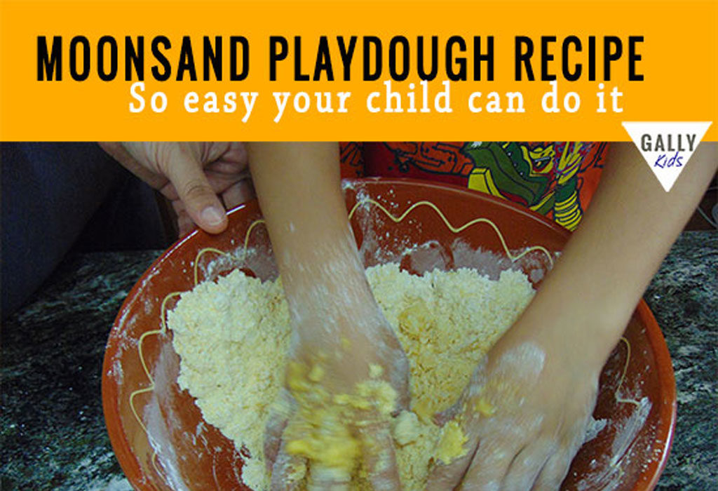 Easy to make moonsand playdough recipe even your child can do it. Fun and easy to make. via @gallykids