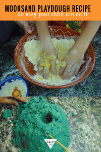 Moon Sand Recipe with Vegetable oil. Easy to make moonsand playdough recipe even your child can do it.