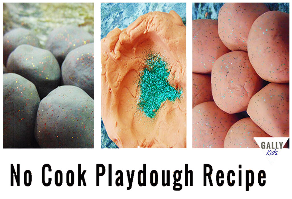 No cook playdough for preschoolers: Soft, stretchable and moldable. Lasts for a long time time. Get the recipe via @gallykids