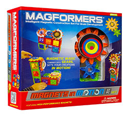 Magformers Magnets in motion science kit - This building kit has won a lot of awards. A lot of fun for kids . There are many different types of Magformers. This one has gears to help kids learn how things moves.