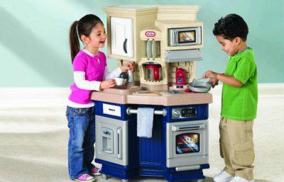 Little Tikes Super Chef Kitchen Set - a modern looking kitchen set with a fridge door that opens