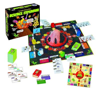 Magic School Bus science explosion - With this Science kit, kids make their own volcano  using vinegar and baking soda. But the fun doesn't stop there. This is also a board game and kids love it.