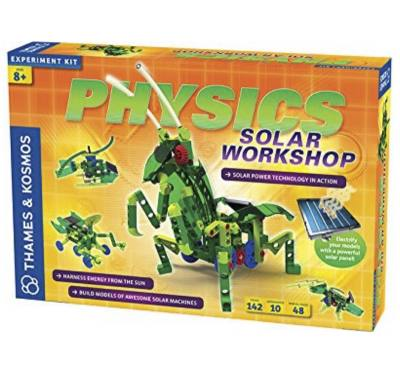 "Physics solar workshop experiment kit - Kids learn how solar power works. This includes all the things needed to make their very own solar-powered ""bots"""
