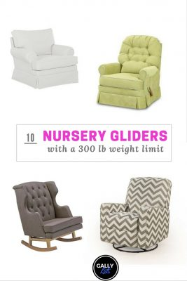 Features 4 of the 10 different nursery gliders that are fit for plus-size parents. On the picture are the Viv + Rae Satya, the Nursery Classic Swivel chair, the Lily Swivel Glider and the Nursery works empire Rock.