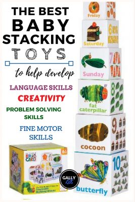 Best stacking toys that help develop language skills, creativity, problem solving skills and fine motor skills. There are many featured on this page. This image shows the stacking boxes for Eric Carle's Very Hungry Caterpillar.