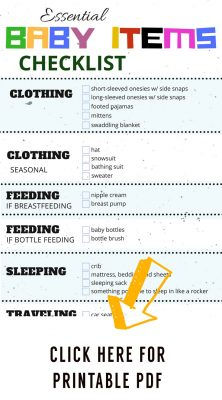 Most esential baby items checklist. Printable