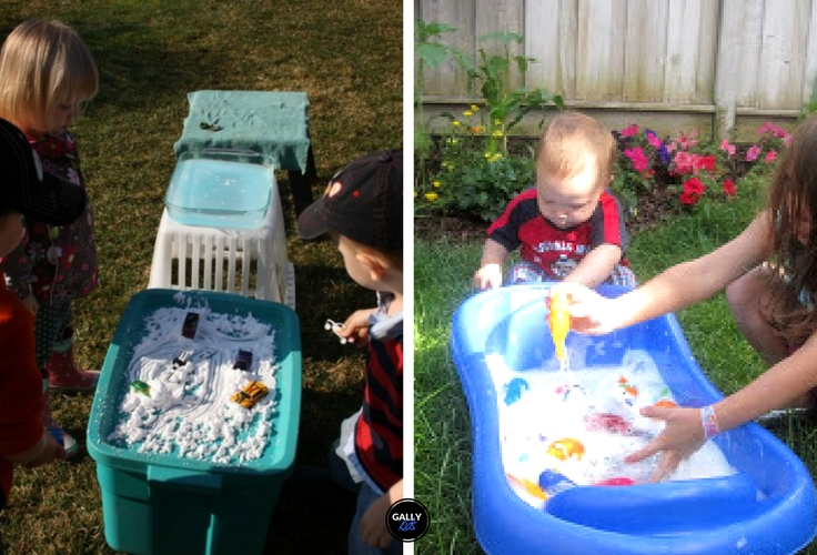 Here's another outside activity for 18 month old toddler -- a toy car wash.