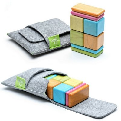 Tegu Magnetic Blocks. Great starter toy for future builders, but also great for stacking. Small enough for travel.