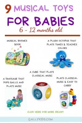 A list of the best musical toys for babies. Includes a musical book, an Octopus that plays music and teaches colors, a cube that plays classical music, a very popular musical toy for car seats and play and a dinosaur that pops ball and plays music while doing it!