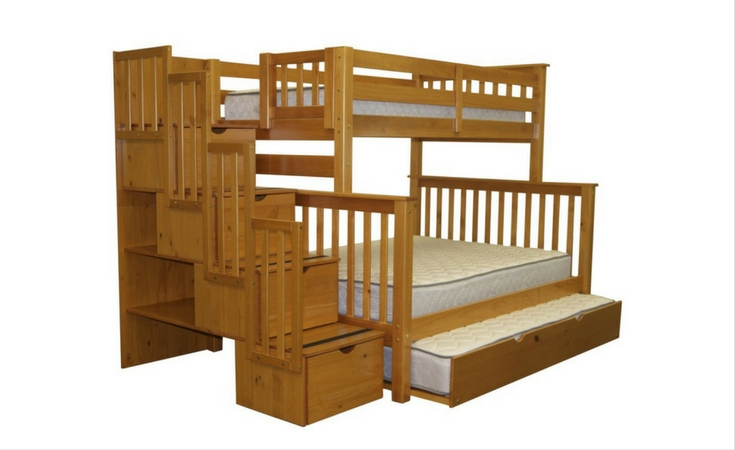 A beautiful honey color of the bedz bunk bed with trundle. Includes 2 bed spaces. The top bunk for a twin-size bed and the lower bunk for a full size bed. Includes 4 drawers and magazine rack.