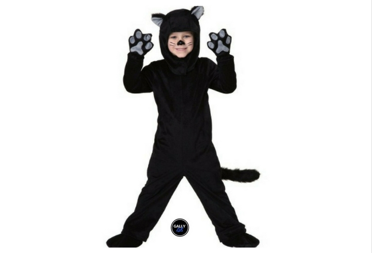 Sizes: 18 months, 2t & 4T are available for this cute black cat costume with paws, hoodie.