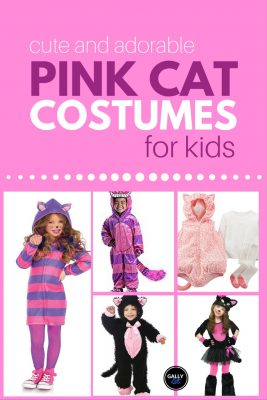 Many different ideas for halloween costume or pretend play if your kid wants to go as a pink cat. From a cute pink purple cheshire cat to adorable pink cat tutu dress.