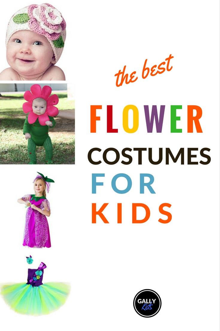 Cool cute and colorful kids flower costumes. Want a yellow sunflower? a cute flower princess or fairy dress? a flower head piece? This list of kids flower costumes for kids of all ages is a great resource.