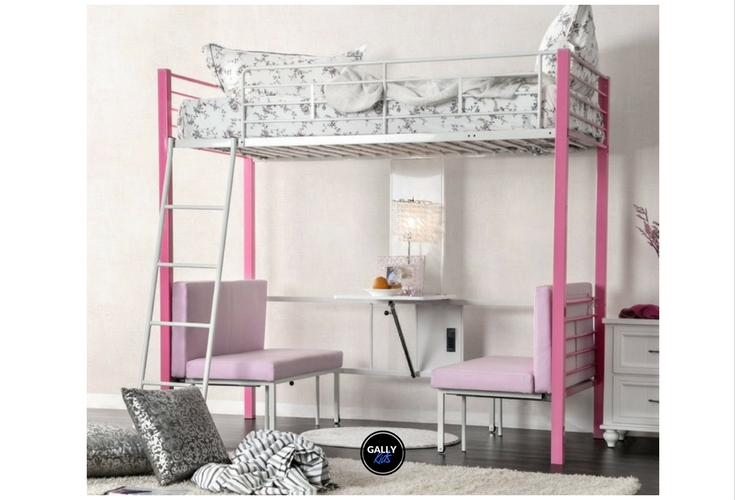 Metal loft bed in pink for kids. Modern design with a study stable and futon underneath it. Chairs can transform into another bed for sleepovers!