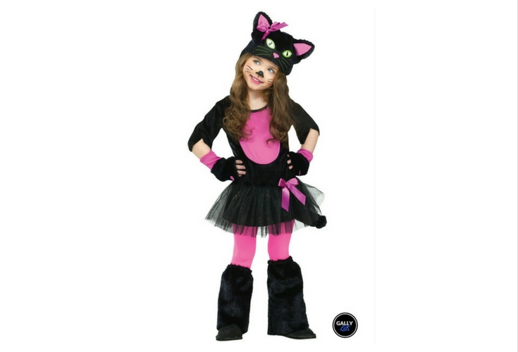 Adorable and cute kitty cat costume with tutu skirt in pink and black