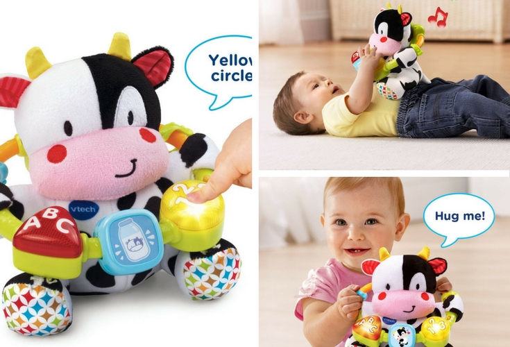 Vtech Moosical Learning toy. It's not just cuddly, it's also a learning toy that kids can listen toy. This toy also grows with them. It's never to early to learn numbers and the abcs