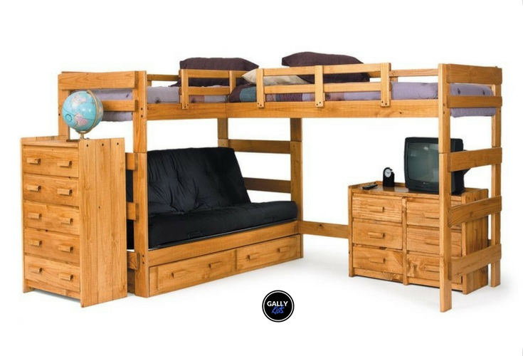 Great for small rooms or studio apartments, the L-shaped loft bed with underneath space that can be used as a desk, space for another bed or a futon.