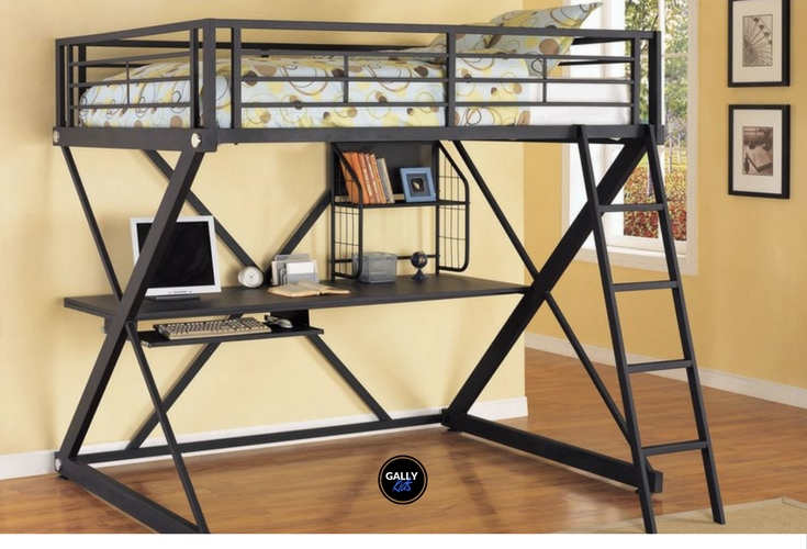 Again, another loft bed for small rooms. A space safer with a 300-lb weight capacity. Nice black finish.