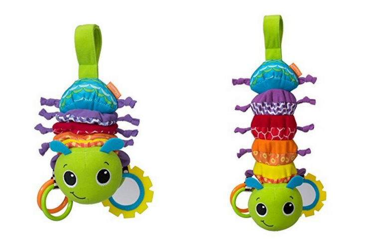 "Infantino Hug and tug bug. Easy to carry. Like a ""musical box"" but all you have to do is pull to activate the music."
