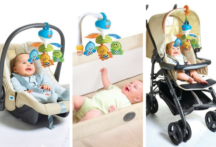 Portable musical toy that you can easily take on strollers or when you go away to travel. It's small and compact and just perfect to soothe and calm your baby.