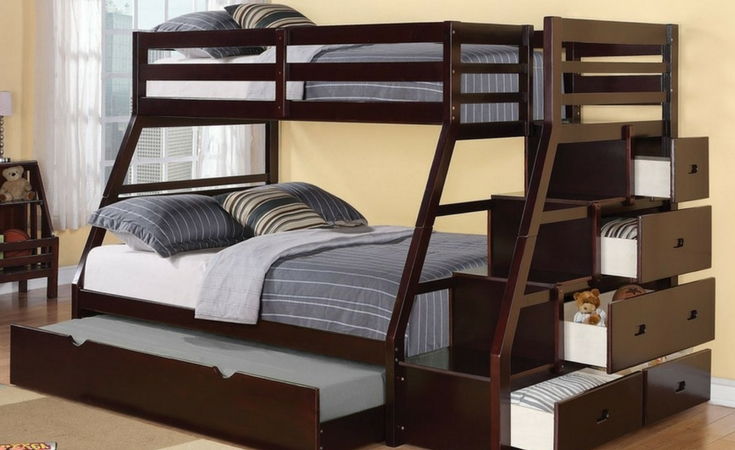 Unique open design of the Reece Bunk Bed in espresso finish.  4 Storage drawers plus the option to have underbed storage or a trundle bed.
