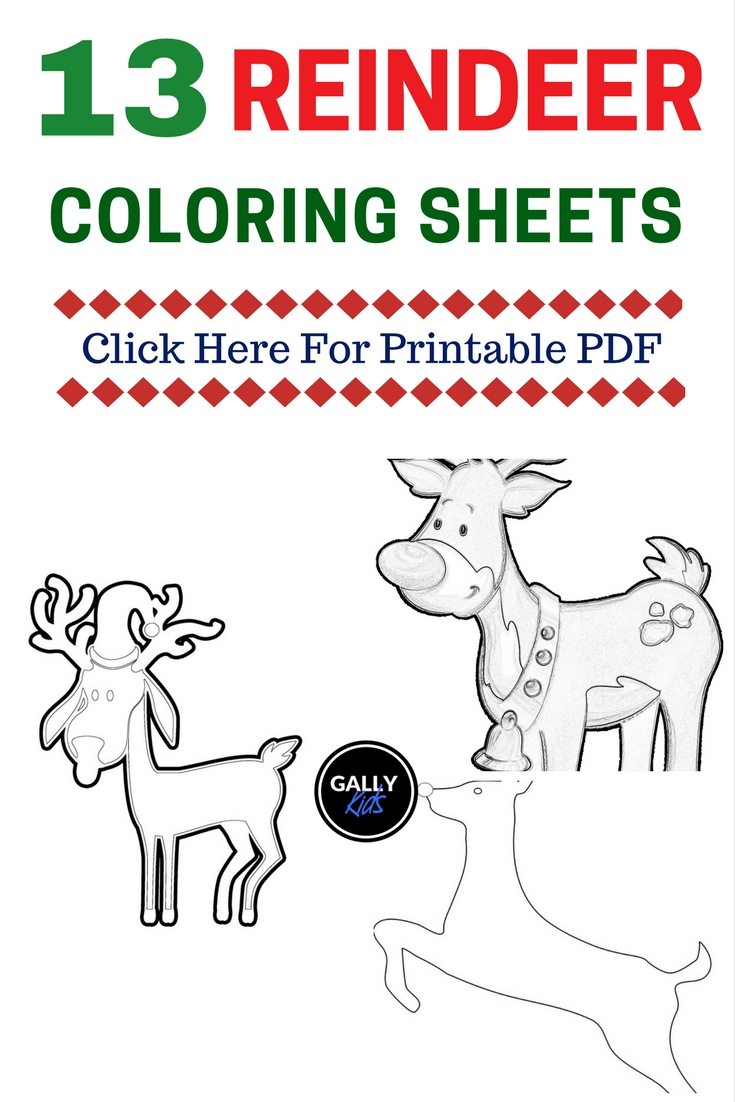 FREE PDF 13 Christmas Reindeer Coloring Pages Face