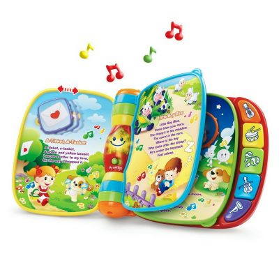 Vtech Musical Rhymes Book. If your little one loves music, this is a great toy to take with you on long-distance car trips or on flights.