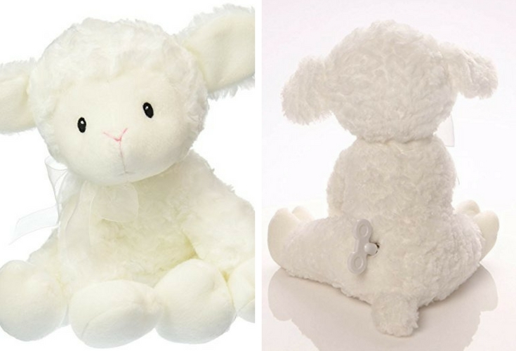 Do away with batteries have this wind up musical toy for babies instead. It's nice and cuddly and does not play annoying music at all. Soothes babies to sleep.