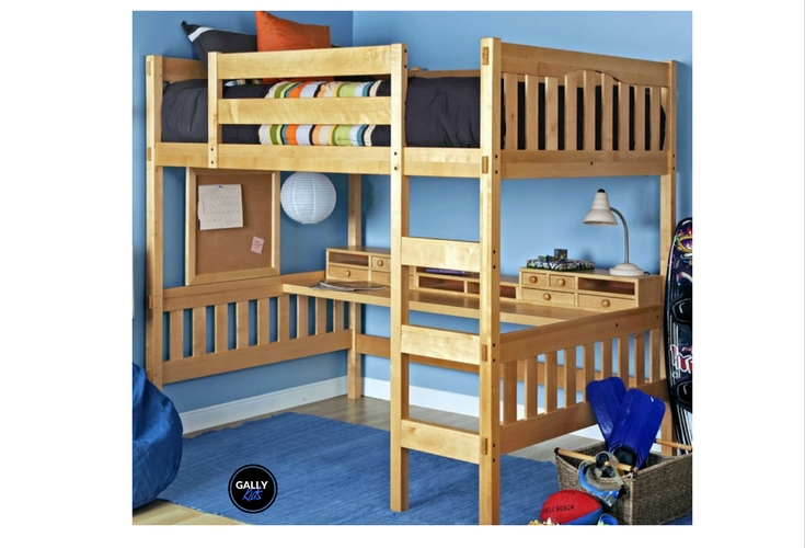 The perfect solution for small rooms. Full-size wooden loft bed with space for a desk underneath.