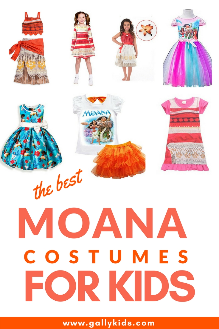 Many different designs of Moana costumes for kids. The original Disney design is always a winner but there are also other Moana costumes or dresses that are just as cute!