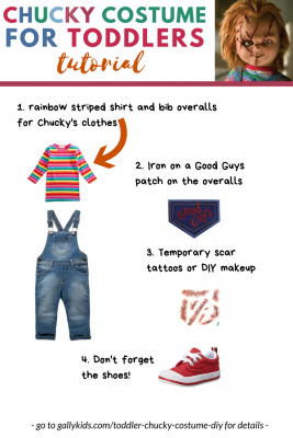 Toddlers Chucky Costume for Halloween. 4 different steps to making this costume. 1. Use a bib overall and stripe shirt. 2. Iron on a good guys patch. 3. Add fake scar tattoo or makeup and 4. don't forget to add red shoes.