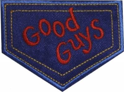 This is what is written on chucky's overalls. You can get as a patch. Good guys