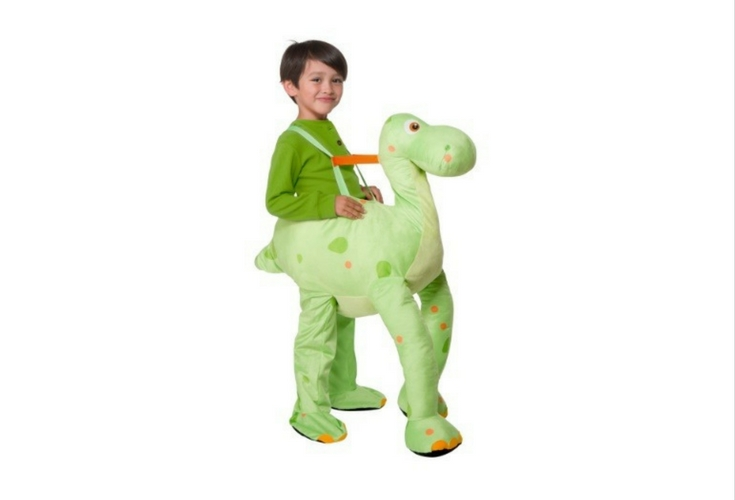 Green dinosaur costume ride on. One size fits all. adjustable.