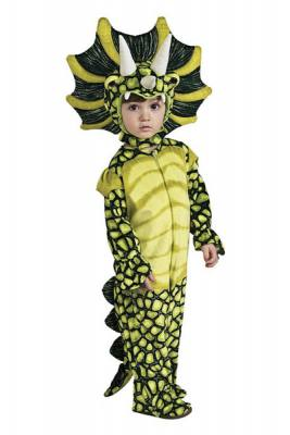 Cute Dark green and yellow green triceratops costume for toddlers that´s very easy to put on. Looks very cute too. Just look at that head!