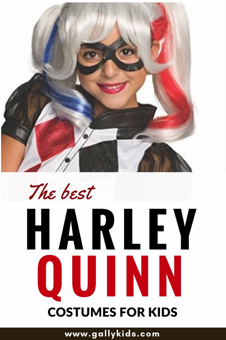 It's not easy to find child sizes for the Harley Quinn costume especially with the suicide squad version. Some ideas here on how to do it as well as DIY tutorials for making one yourself.