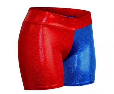 Blue and red Harley Quinn shorts.