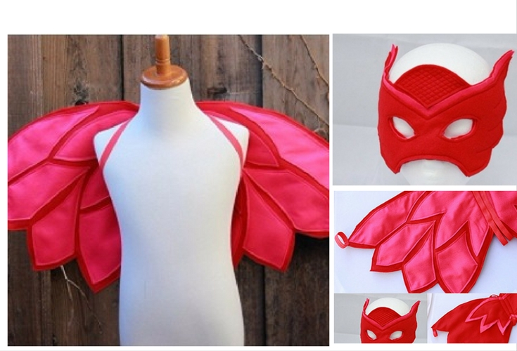 Special costume. Handmade Owlette wings and mask.