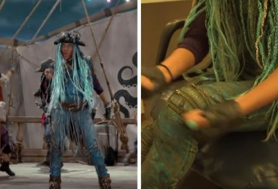 Uma wears jeans or shorts in many of the dance numbers in the Descendants 2 movie