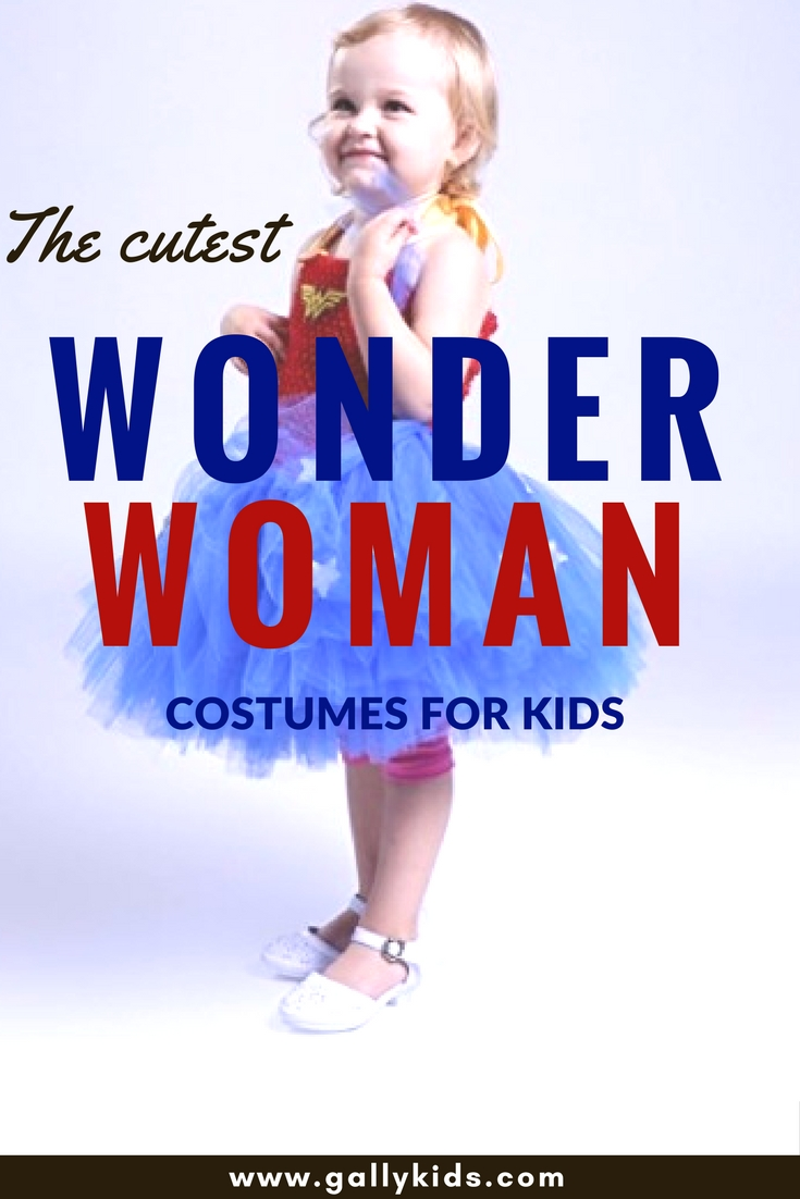 A list of the best kids Wonder Woman Costumes for Halloween or pretend play. This includes the classic Lynda Carter outfit to the more recent one that Gal Gadot wore in the 2017 version of the movie.