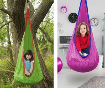 A seat hammock for outdoor and indoor use. A nice relaxing place for your tween to go to and sit on.