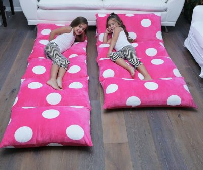 Pink pillow lounger that also turns into a beanbag. Great for nap times, reading a book or slumber parties.
