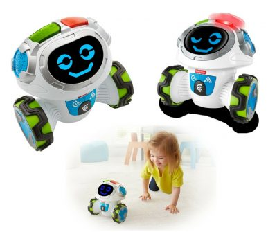 Fisher-Price think and learn teach and tag Movi. Robotic toy by Fisher-Price. This is also an educational toy that teaches kids basic shapes and colors as well as how to follow instructions. Great fun.