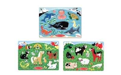 Toddlers love these animal puzzles. choose from farm animals, sea creature or neighborhood pets.