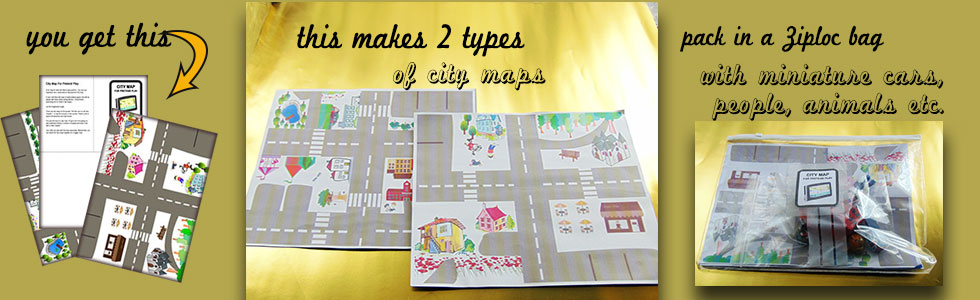 Road play map for toddlers. Great for pretend play and great for traveling too!