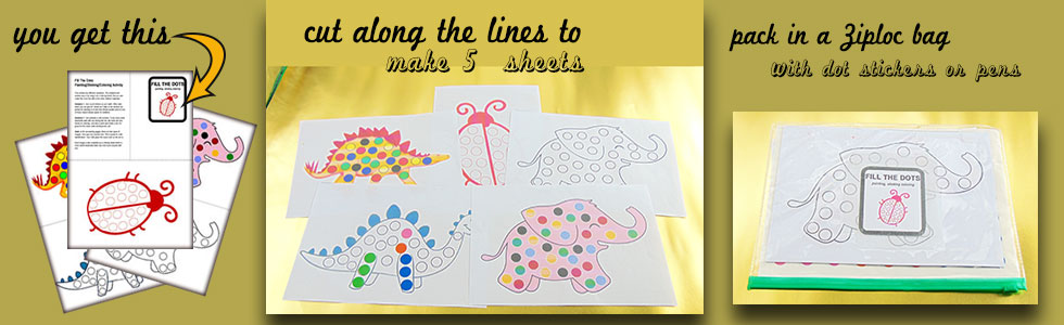 Travel Activity: Elephant with dots for dot painting, coloring, painting or stickers.
