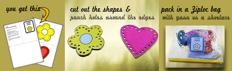 Lacing Activity: A flower and heart for a fun lacing activity for toddlers.