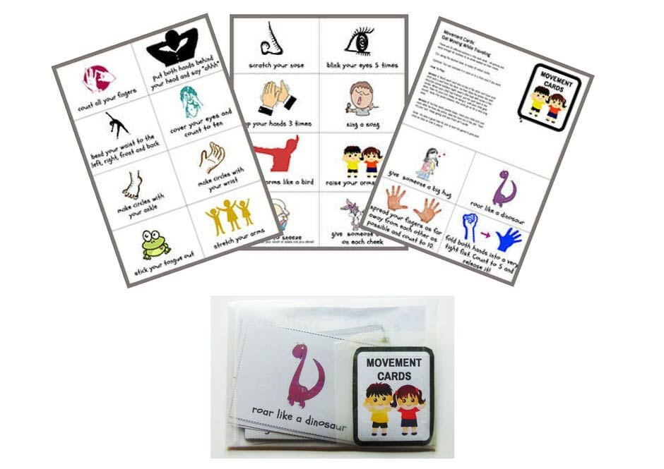 Printable action cards. Travel size and with actions that kids can easily do when traveling.