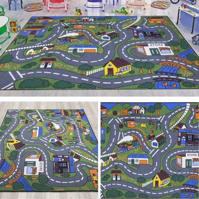 Ottomanson Rug. Three different look at the Ottomanson car play mat. Great for kids who love playing with cars.