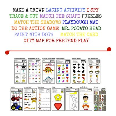A list of the 13 travel games and activities for toddlers which is included in this pack.