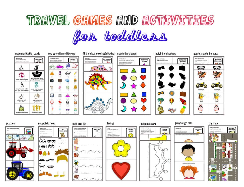 13 different activities for this travel kit. Printable PDF. Just print, choose the best activities and you're good to go!